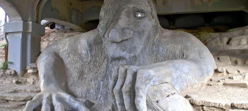 Giant Stone Troll statue