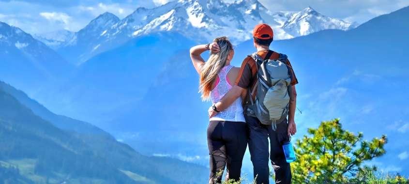 Couple Hiking Cascades