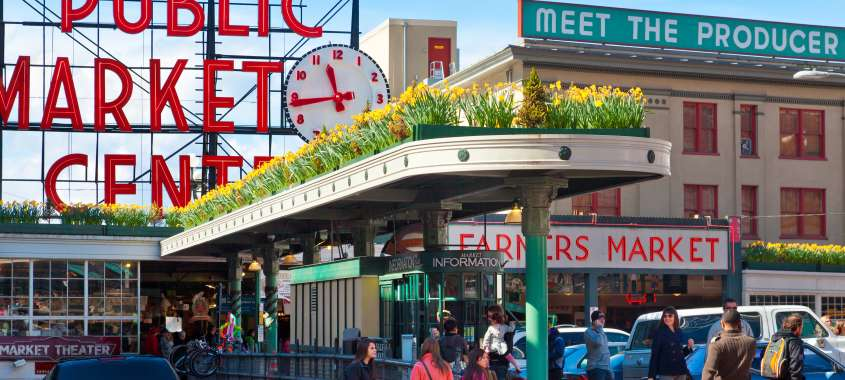 Pike Place Market with Daffodils on a sunny Spring Day