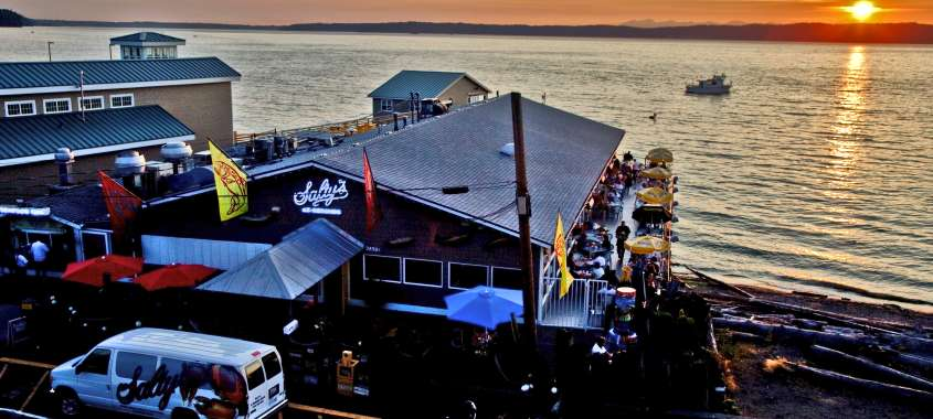Salty's Redondo Beach Restaurant view at Sunset