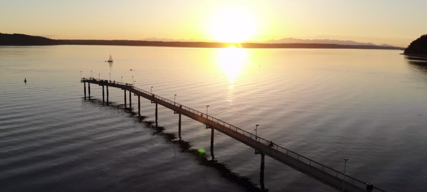 Sunset over Pier and Water