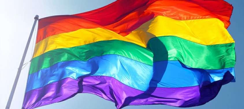 Rainbow PRIDE flag waving in the wind