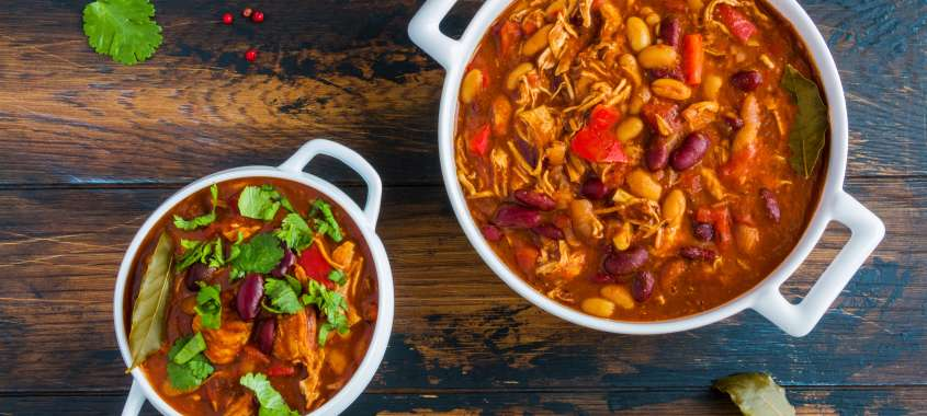 Two bowls of Turkey Chili from Salty's Restaurant recipe in Seattle