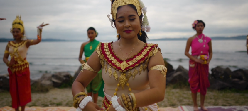 Cambodian dancers in front of water