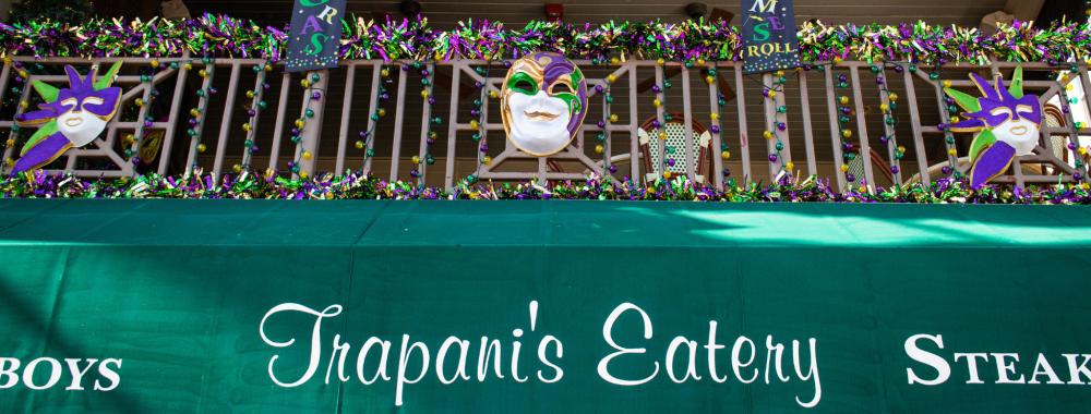Trapani's Eatery Mardi Gras Decorations Balcony