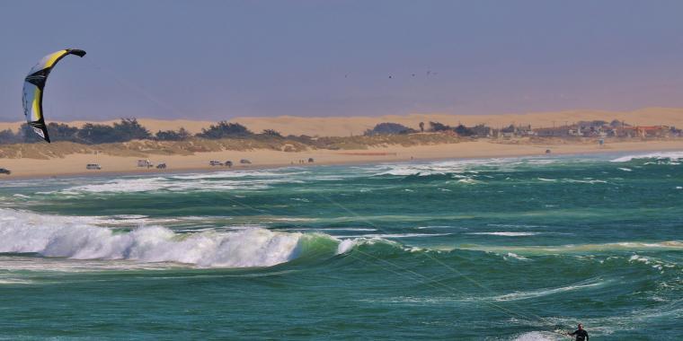 kitesurfer surfing in Oceano