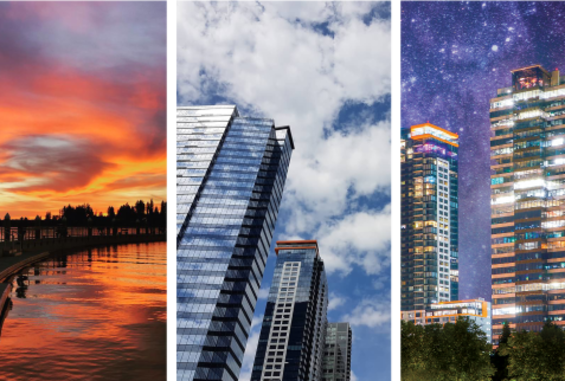 Rectangle Pictures of the the Bellevue skyline to be downloaded to be put on phone background