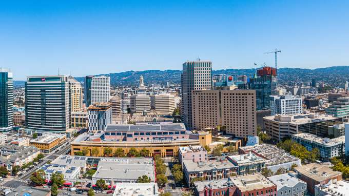 Downtown Oakland panorama aerial