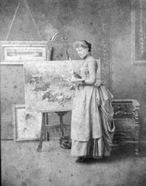 Black And White Photo Of Adelia Armstrong Lutz Painting