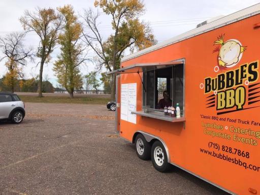 Exterior of the Bubbles BBQ food truck