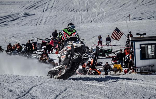 the starting line for a snowmachine race