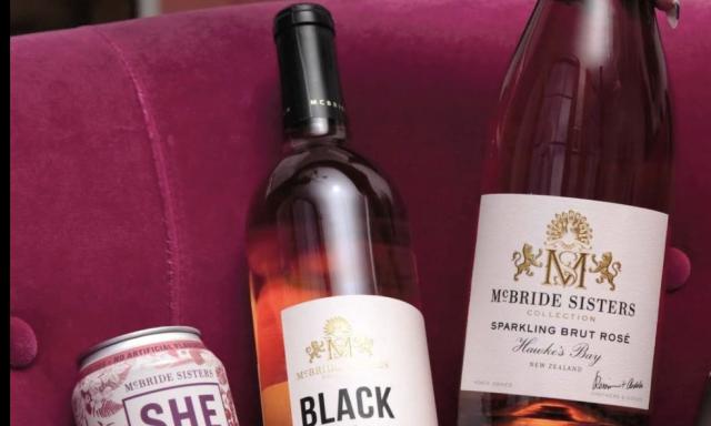 McBride Sisters Wine Bottles on Sofa