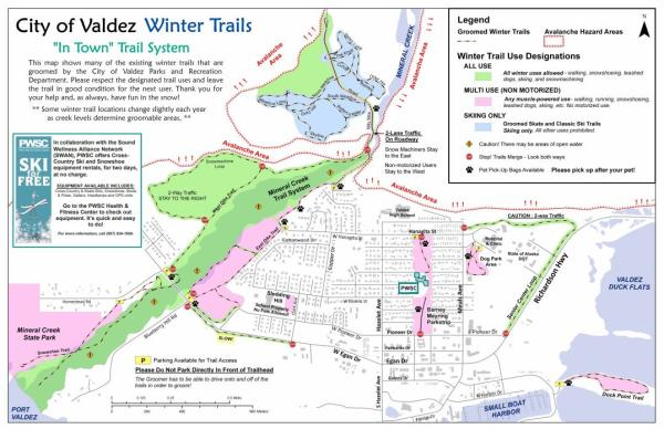 a map of skiing trails around Valdez, Alaska