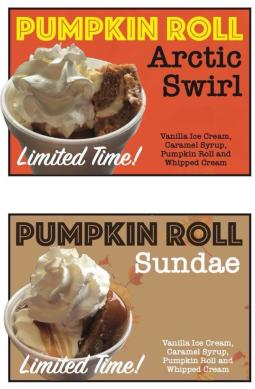 Berry Twist's Pumpkin Roll Arctic Swirl and Sunday Limited Time Sign