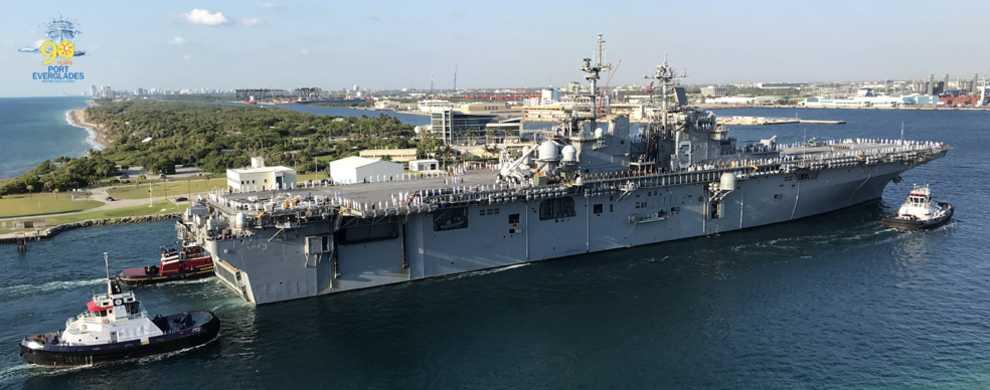 Aerial photo of U.S. Navy ship coming into Port Everglades