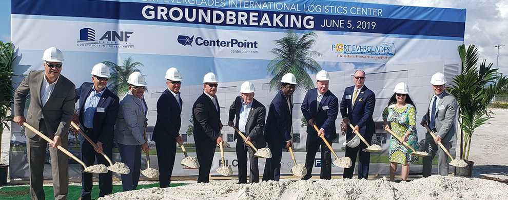 CenterPoint Properties, Port Everglades and County officials participate in a groundbreaking ceremony for the Port's new International Logistics Center.