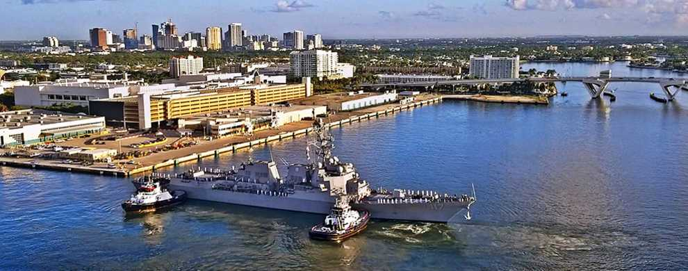 The USS Paul Ignatius arrives at Port Everglades on July 22, 2019 for her commissioning ceremony.