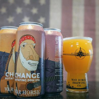 Can of Warhorse Brewing Co. Change IPA with logo resembling Willie Nelson