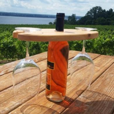 Maple bottle and Glass Display from Fish Woodworks