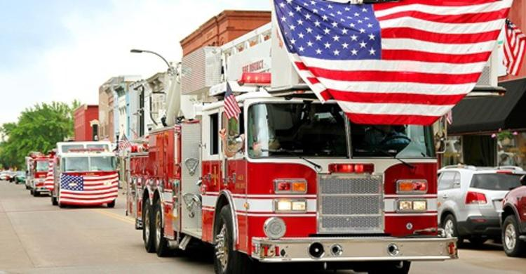 Firetrucks with United States flags in the Princeton Memorial Day Parade
