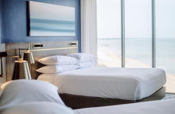 Double room at the Delta VB Bayfront Suites