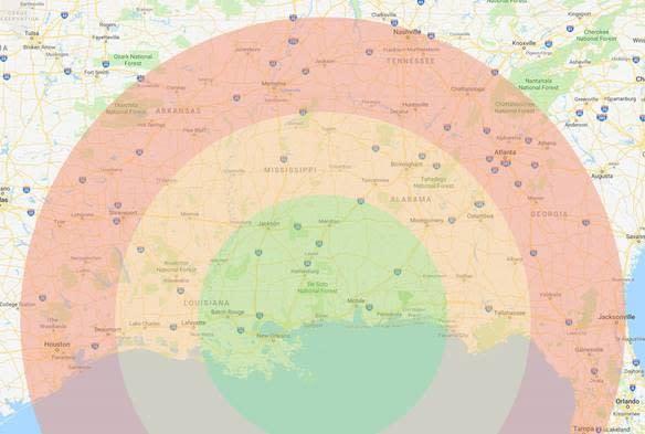 Driving Radius Map