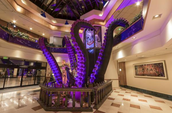Image of Ursula-themed decorations inside Disneyland Resort Hotel.