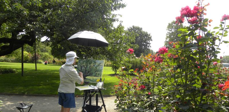Plein Air Painting in Owen Rose Garden by Eugene, Cascades & Coast