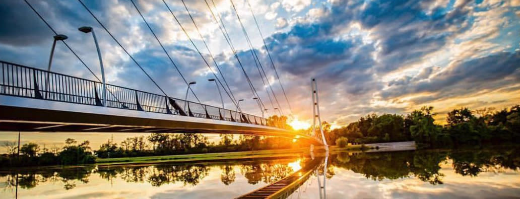 Sunset over Saint Joseph River and Venderly Bridge at Purdue Fort Wayne