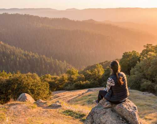 Girl looking out to the horizon at  La Honda Creek