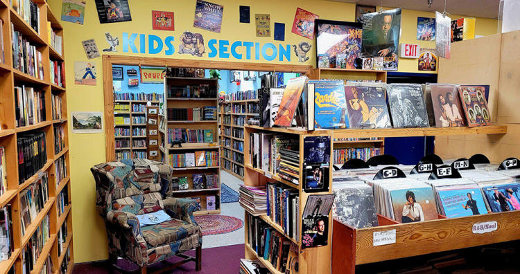 Pauper's Books kids section from Good Vibes article.