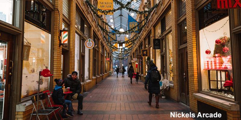 Nickels Arcade at the Holidays