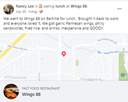 Facebook post about Wings 88 in Irving, TX