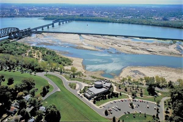 Aerial view of Falls of the Ohio with the water and bridge