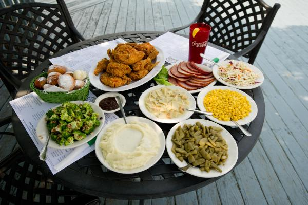 A meal of southern favorites at Joe Huber's Family Farm Restaurant includes fried chicken and all the best sides.