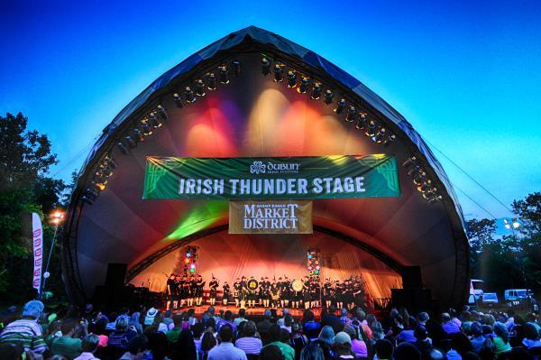 Coffman Park Amphitheater at night during Dublin Irish Festival