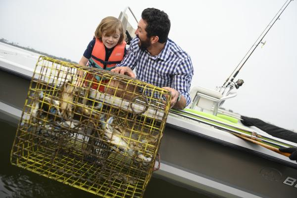 Father and son crabbing
