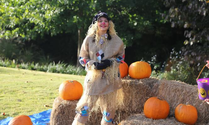 A person dressed as a scarecrow at Spooky Springs