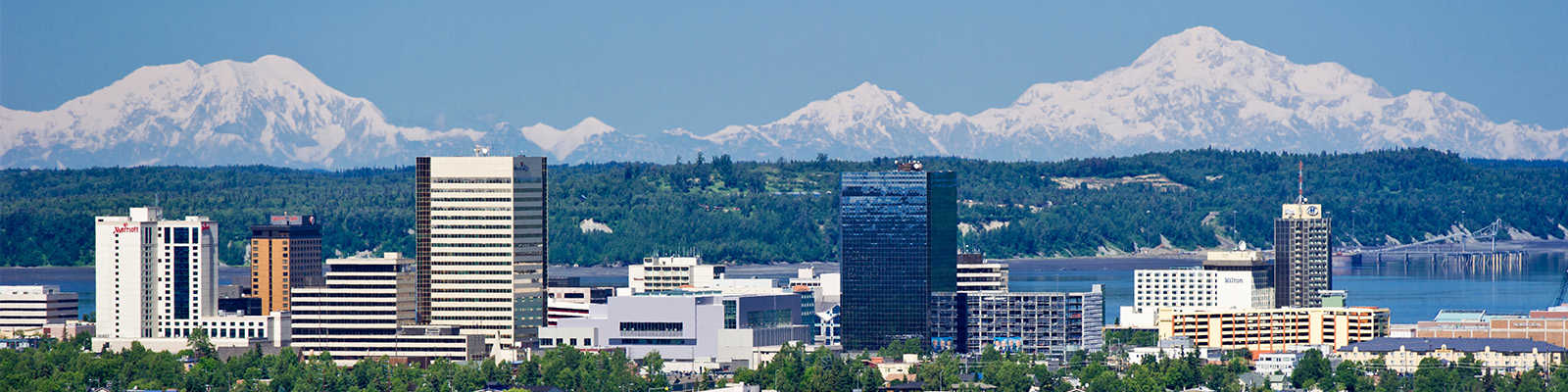 Downtown Anchorage seen with the Alaska Range to the north.