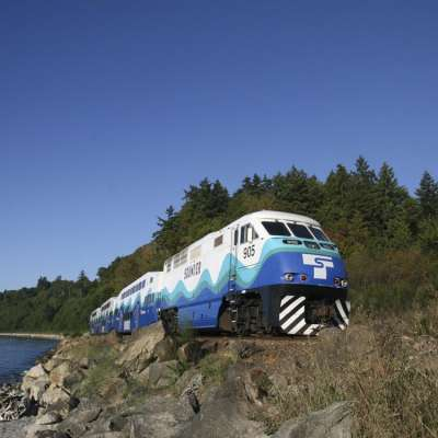 Sounder Train along the Puget Sound