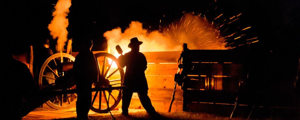 Volunteers perform a historical demonstration at Wilson's Creek National Battlefield in Republic, Missouri