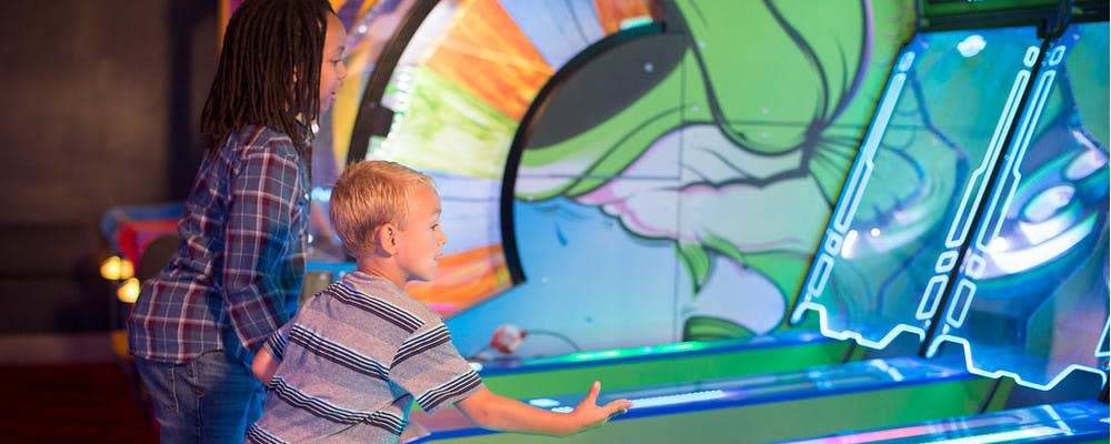 Children play in the arcade at Andy B's Family Entertainment Center
