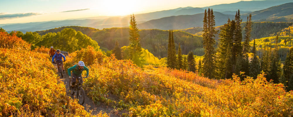 Mountain Biking on the Flash of Gold trail in Steamboat Springs, Colorado