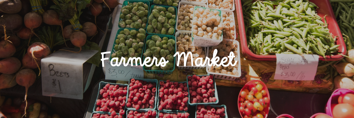 "Various fruits and vegetables sold at the farmers market with the words ""farmers market"" on top of the image"