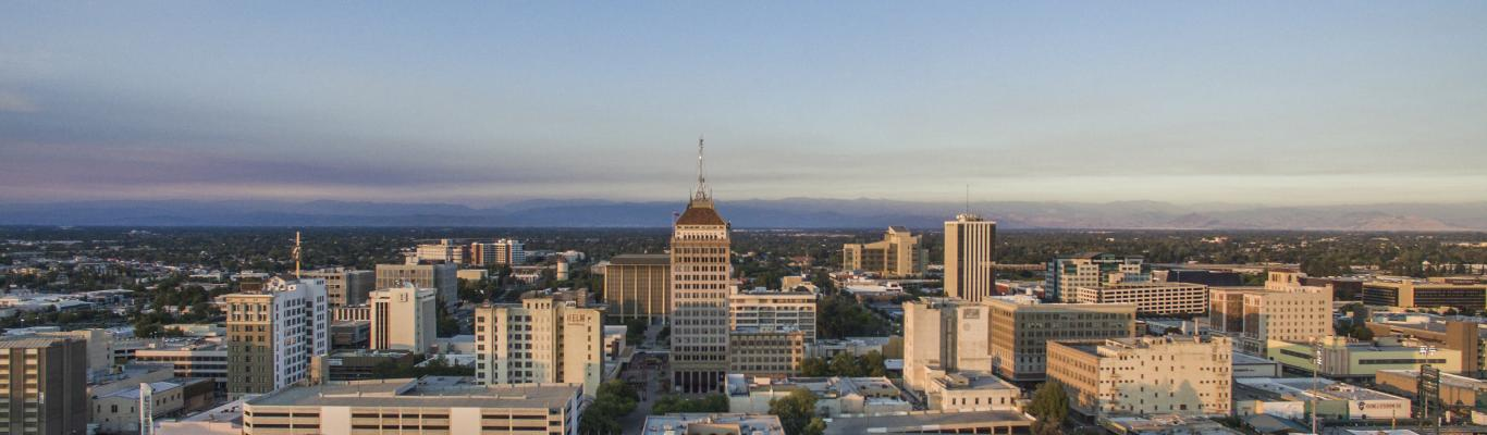 Aerial view of Downtown Fresno during the day