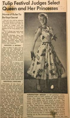 Albany Institute: Tulip Queen Coronation Dress Newspaper Clipping