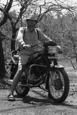 Yann Martel on a motorbike in India