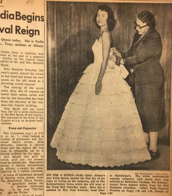 Albany Institute: Tulip Queen Ballgowns Newspaper Clipping