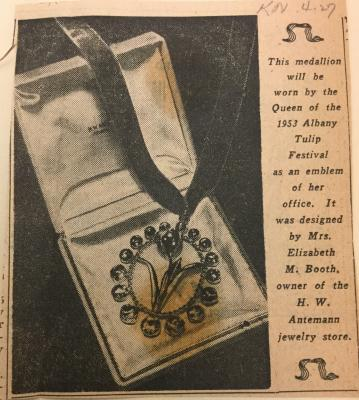 Albany Institute: The Tulip Queen's Pendant Newspaper Clipping