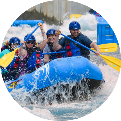 Group whitewater rafting at Riversport Adventure.